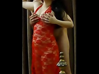 Cheating Pakistani Indian Bhabhi Fucked by Husband'_s Friend in Red Lingerie