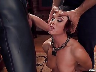 Brunette MILF India Summer wold lingerie is whipped by James Mogul while sucking huge cock to gimp Owen Gray then vibrated while anal fucking at threesome slave training